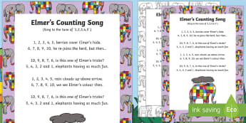 Elmer's Counting Song - Elmer, David McKee, colour, patchwork, elephant, wilbur, song, singing, songtime, numbers, 1-10