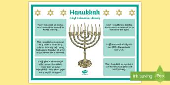 Poster Gwybodaeth Hannukah CA2 - miracle, gwyl, festival, gwyrth, Jerwsalem, Jerusalem, menorah, kislev,Welsh-translation
