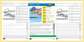 Australian Rio Olympian Matthew Abood Handwriting Practice Worksheet / Activity Sheets, worksheet