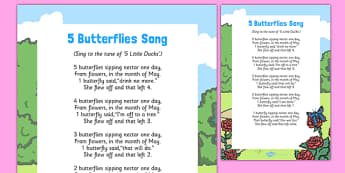 5 Butterflies Song - butterfly, life cycle, song, 5, 5 butterflies, five butterflies, five