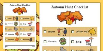 Autumn Hunt Checklist - autumn hunt, checklist, autumn, hunt