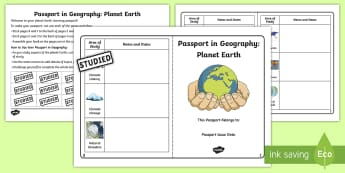 Passport in Geography: Planet Earth Checklist - Earth project, our world, environment, Where we Live, Flags, Continents, Physical geography, climate