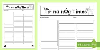 Tír na nÓg Newspaper Writing Activity - Tír na nÓg, Niamh, Oisín, Eternal Youth, Newspaper Report, Report Writing,Irish