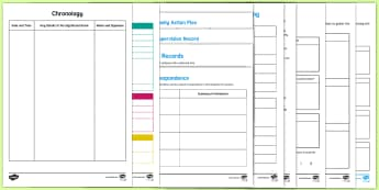 Young Peoples Case File Recording and Assessment Documents Activity Pack -  monitoring, recording,  families, school documents