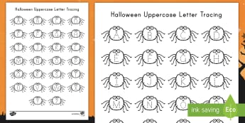 Halloween Uppercase Letter Tracing Activity Sheet - worksheet, Alphabet Tracing, Letters, Alphabet, Bats, pumpkins, Spiders, Literacy