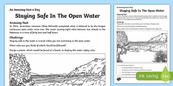 Staying Safe In The Open Water Worksheet / Activity Sheet, worksheet