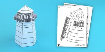 Houses and Homes Lighthouse Paper Model - activity, activities, crafts