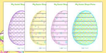 Easter Egg Shape Poetry - shape poetry, shape, poetry, shape poems, poetry writing frames, easter egg poetry, easter egg writing frame, easter egg page border, easter poetry, easter shape poem, poetry templates, poem template, poem writing frame