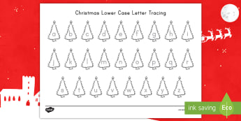 Christmas Lowercase Letter Tracing Activity Sheet - Letter Recognition, Alphabet Tracing, Christmastime, ELA Center Activity, Early Childhood Beginning
