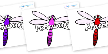 Months of the Year on Dragonflies - Months of the Year, Months poster, Months display, display, poster, frieze, Months, month, January, February, March, April, May, June, July, August, September