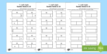 Bar Modelling Number Bonds to 10 Differentiated Arabic/English - bar model, bar modelling, number bonds to 10,number bondd, numberbonds, number bondso 10, number bon