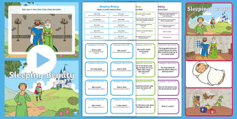 Sleeping Beauty with Blanks Level Question Cards - language for thinking, inference, prediction, why, asking questions
