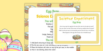 Egg Drop Science Experiment and Prompt Card Pack - Easter Eggs, drop, science experiment, prompt card, prompt, card