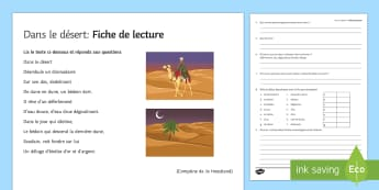 In the Desert Reading Comprehension Worksheet / Activity Sheet French