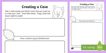 Creating a Cave Outdoors Worksheet / Activity Sheet - CfE Outdoor Learning, nature, forest, worksheet, woodland, playground, bear hunt, numbers, counting,