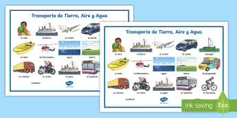 Land, Air and Water Transport Word Mat - Spanish - Spanish, Vocabulary, KS1, KS2, transport, land, air, water, word, mat, literacy, spelling, vehicles