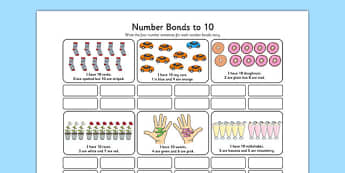 Number Bonds to 10 Stories Worksheet - number bonds, 10, stories, number, bonds