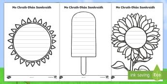 Teimpléad Cruthfhilíochta an tSamhraidh - Summer Shape Poetry Templates, teimpléad cruthfhilíochta an tsamhraidh, na séasúir, seasons, wea