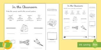 Ficha de actividad: escribe objetos de la clase en inglés (16 palabras)  - Escribir, write, words, school, objects, english, palabras, objetos escolares, escuela, clase ,Spani