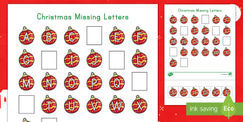 Christmas Missing Letters Activity Sheet - Alphabet, Letter Recognition, Alphabetical Order, Early Childhood Literacy, Christmastime Activity S