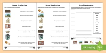 Bread Production   Differentiated Worksheet / Activity Sheets - wheat, flour, bakery, yeast, packaging, process.