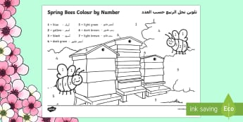 Spring Bees Colour by Number Arabic/English  - Spring, seasons, bees, weather, colour by number, EAL,Arabic-translation