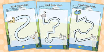 Ugly Duckling Pencil Control Path Worksheets - control, worksheet