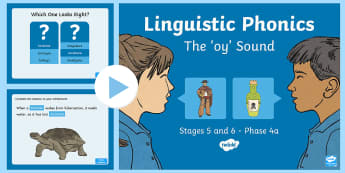 Northern Ireland Linguistic Phonics Stage 5 and 6 Phase 4a 'oy' Sound PowerPoint  - NI, sound search, word sort, investigation
