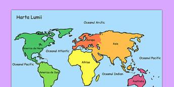 Harta lumii - Planșă - planșă, harta lumii, planșe, geografie, de afișat, materiale, materiale didactice, română, romana, material, material didactic