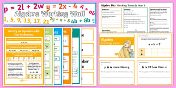 UKS2 Algebra Working Wall Display Pack - classroom display, maths display,linear sequence, enumerate, equation, algebraic, missing number, fo