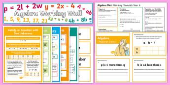 UKS2 Algebra Working Wall Display Pack - classroom display, maths display,linear sequence, enumerate, equation, algebraic, missing number, fo