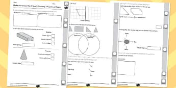 Year 3 Maths Assessment: Geometry - Properties of Shapes Term 2 - year 3, maths, assessment, geometry