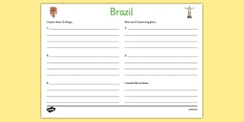 Brazil Write Up Worksheet - football, world cup, sports, pe