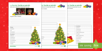 Christmas Structured Writing Differentiated Activity Sheets Spanish - celebrations, develop, ideas, worksheet, creative, writing, worksheets, christmas