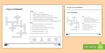 KS3 Pressure Crossword