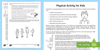 Physical Activity Ideas for Children Parent and Carer Information Sheet - child, wellbeing, fitness, physical, activity, health