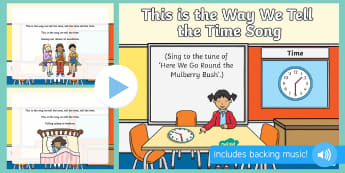 This is the Way We Tell the Time  Song PowerPoint - tell time, clock, hands, times of day, morming, afternoon, lunchtime, early maths, time vocabulary