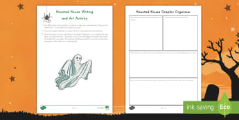 Haunted House Writing and Art Activity - Halloween, Writing, Art, Oil pastels, Graphic Organizers, descriptive writing,