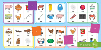 Onset and Rime Bingo - list, cards, rhyme, words, letters, sound, phonics