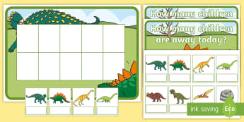 Dinosaur Editable Self-Registration Ten-Frame Resource Pack - Dinosaur, Ten Frame, Maths Mastery, Counting, Number, Calculating,Self-Registration, Register, Atten