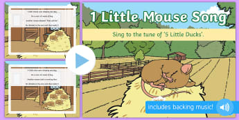 1 Little Mouse Song PowerPoint - singing, song time, maths, mathematics, add, addition, adding, plus, counting, mice, harvest