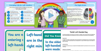 Twinkl Left-Handed Day Resource Pack - left hand, left handers day, left, handwriting, midline, brain, left brain, right brain