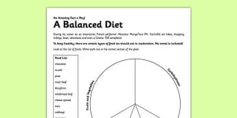 A Balanced Diet Worksheet / Activity Sheet - eat healthy, balanced diet, diet, activity, worksheet