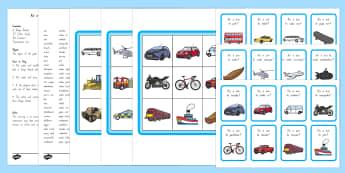 Fruits and Vegetables Game Te Reo Maori / English - bingo, vehicles, motoka, nga mea haere