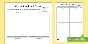Circus Read and Draw Worksheet - reading, drawing, colouring