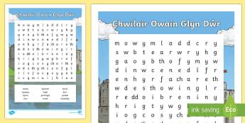 Chwilair Owain Glyn Dŵr - WL Social Media Requests in Welsh KS2 (HIGH PRIORITY) Owain Glyn Dŵr, bonheddig, rhyfel, ymladd, br