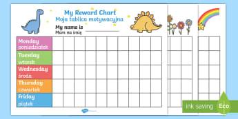 My Reward Chart Pack English/Polish - My Reward Chart - Reward Chart, free reward chart, my reward chart, rewards, reward, School reward,
