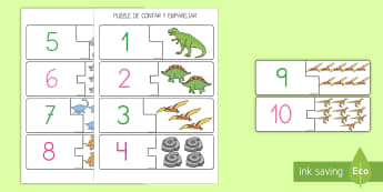 Puzzle de emparejar números: Los dinosaurios - Dinosaurios, pre-historia, dinos, tiranosaurio, estegosaurio, triceratops, proyectos, aprendizaje ba - Dinosaurios, pre-historia, dinos, tiranosaurio, estegosaurio, triceratops, proyectos, aprendizaje ba