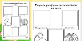 Easter Holiday Snapshots Writing Frame Gaeilge - religion, celebrations