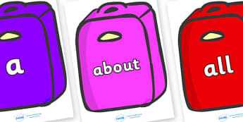 100 High Frequency Words on Suitcases - High frequency words, hfw, DfES Letters and Sounds, Letters and Sounds, display words